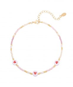 Anklet Hearts & Beads paars by-manye